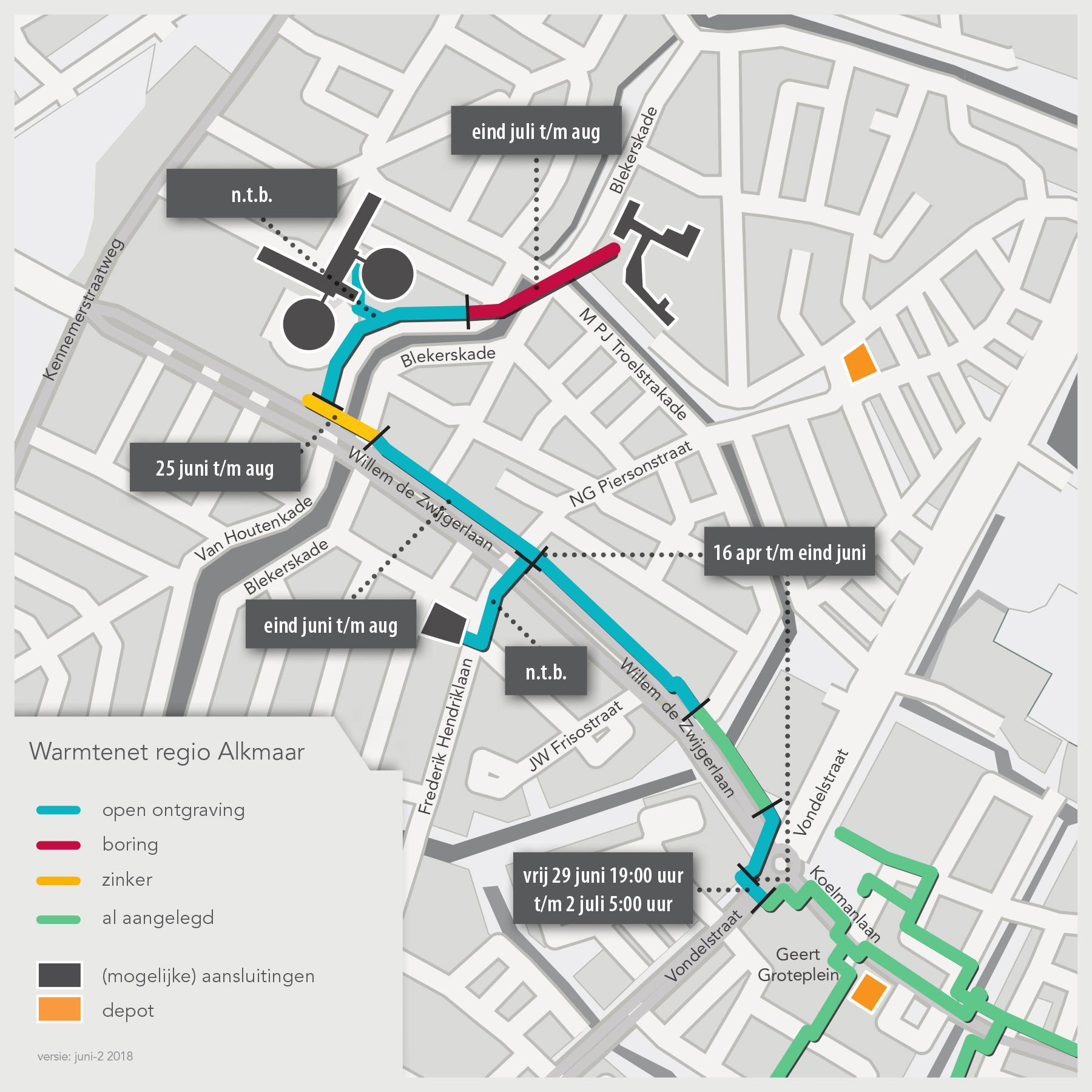 Detail met planning warmtenet Alkmaar