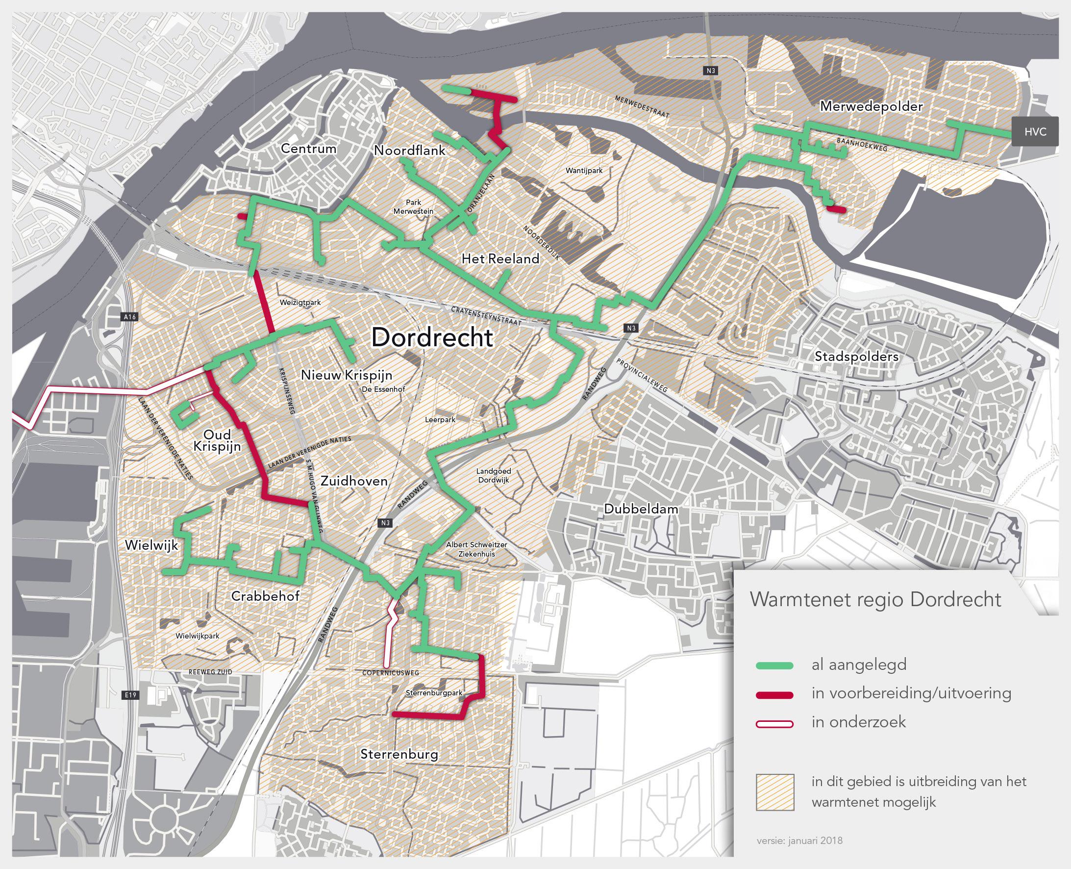 Overzichtskaart Warmtenet Dordrecht